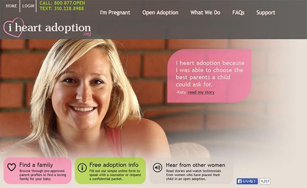 IACが運営する妊娠中の女性向け情報サイト「i heart adoption」