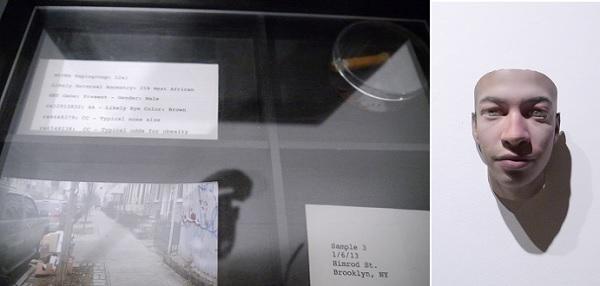 Stranger Visions/Heather Dewey-Hagborg(US)の作品。たばこの吸い殻と収集した場所、そこから推定される髪の色や肌の色などの展示とつくられた顔を併せて展示した
