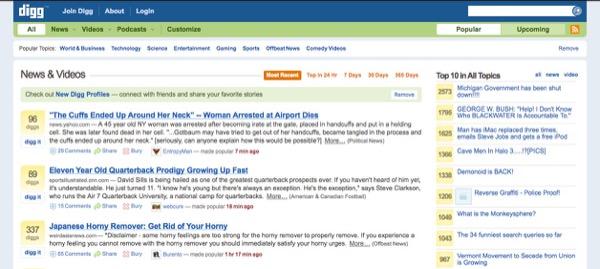 伝説的なソーシャルニュースサイト「Digg」2007年当時のトップページ。NewsPicksでいう「ピック」のことを「Digg」と呼び、逆に「Bury」という、評価を落とすことが可能なボタンも設置されていた。