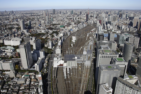 Aerial view of Shinagawa station areas