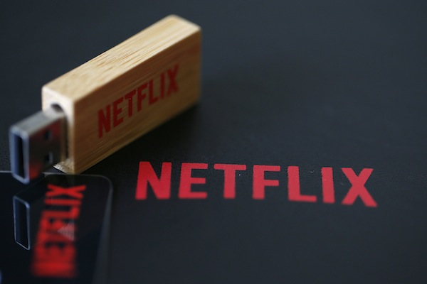 An USB key with the logo of Netflix the American provider of on-demand Internet streaming media is seen  in Paris