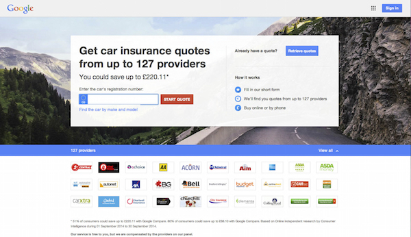 Insurance is advertised through Google.