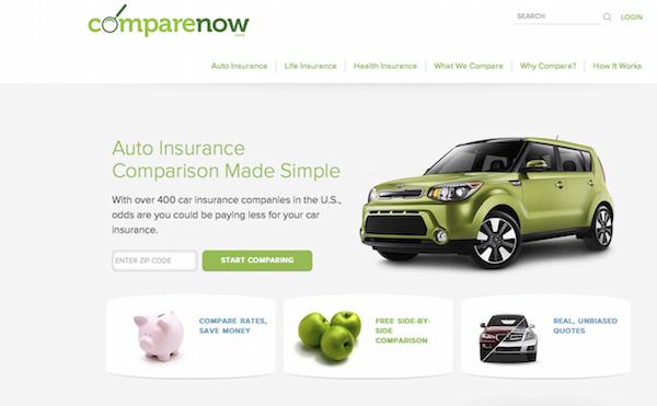 A Comparenow website advertises auto insurance