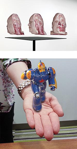 上:医療または教育分野におけるデモンストレーションの例。角度を変えながら、死体標本頭部の切断面を示すことができる。 下:実在しないロボットが、本物の手の上に立っているように見える。